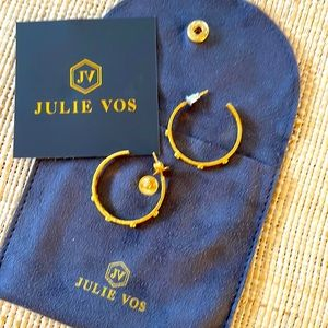 Brand new Julie Vos crescent stone hoop earrings with pacific blue!!